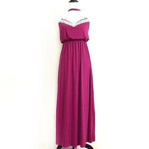 4/$25 Ultra Flirt High Neck Crochet Maxi Dress S